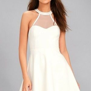 Lulus Light n Grace White Halter Mesh Skater Dress